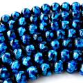 光る ホタルガラス ブルー 10mm 一連 ビーズ売り(41粒) とんぼ石 青色 沖縄 お土産 typeA