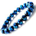 光る ホタルガラス ブルー 10mm ブレスレット とんぼ石 青色 沖縄 お土産 typeA