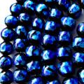光る ホタルガラス ブルー 12mm 一連 ビーズ売り(34粒) とんぼ石 青色 沖縄 お土産 typeA