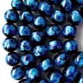 光る ホタルガラス ブルー 14mm 一連 ビーズ売り(30粒) とんぼ石 青色 沖縄 お土産 typeA