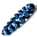 光る ホタルガラス ブルー 14mm ブレスレット とんぼ石 青色 沖縄 お土産 typeA