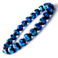 光る ホタルガラス ブルー 8mm ブレスレット とんぼ石 青色 沖縄 お土産 typeA