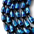 光る ホタルガラス ブルーしずく型 ドロップ 約15 x 8mm 一連 ビーズ売り(26粒) とんぼ石 青色 沖縄 お土産