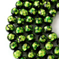卸販売 ホタルガラス 一連 ビーズ 12mm 34粒 ライトグリーン 緑色 とんぼ玉 沖縄 大人気 お土産