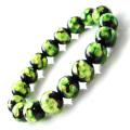 ホタルガラス ブレスレット 12mm ライトグリーン 緑色 とんぼ玉 沖縄 大人気 お土産