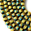 光る ホタルガラス イエロー ブルー MIX 10mm 一連 ビーズ売り(41粒) とんぼ石 青色 黄色 沖縄 お土産