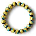 光る ホタルガラス イエロー ブルー MIX 10mm ブレスレット とんぼ石 青色 黄色 沖縄 お土産