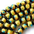 光る ホタルガラス イエロー ブルー MIX 12mm 一連 ビーズ売り(34粒) とんぼ石 青色 黄色 沖縄 お土産