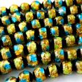光る ホタルガラス イエロー ブルー MIX 8mm 一連 ビーズ売り(52粒) とんぼ石 青色 黄色 沖縄 お土産