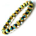 光る ホタルガラス イエロー ブルー MIX 8mm ブレスレット とんぼ石 青色 黄色 沖縄 お土産