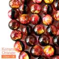 蓄光 ケラマ サンセットオレンジ ホタルガラス 12mm 一連 ビーズ売り 33粒 沖縄 お土産 慶良間諸島