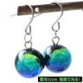 蓄光 ケラマブルー ホタルガラス ピアス 両耳用 フックはチタン製 沖縄 お土産 慶良間諸島