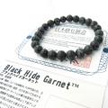 日本の銘石 ブラックハイドガーネット ブレスレット 8mm 愛媛県産 証明書付き