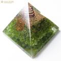 ペリドット使用 水晶単結晶入り オルゴナイトピラミッド 大人気スピリチュアルグッズ 幅約65-70mm前後