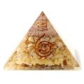 アラゴナイト使用 水晶単結晶入り オルゴナイトピラミッド 大人気スピリチュアルグッズ 幅約65-70mm前後
