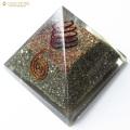 パイライト使用 水晶単結晶入り オルゴナイトピラミッド 大人気スピリチュアルグッズ 幅約65-70mm前後