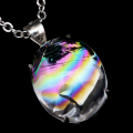 アイリスクォーツ 虹入り 丸玉 水晶 ペンダント高品質 チェーン付き パワーストーン