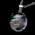 アイリスクォーツ 虹入り 水晶 ネックレス AAA 天然石 ペンダント高品質 Silver925 チェーン付き