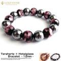 テラヘルツ鉱石 × ホタルガラス ブレスレット 12mm 16粒 ピンク パワーストーン