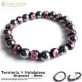テラヘルツ鉱石 × ホタルガラス ブレスレット 8mm 24粒 ピンク パワーストーン