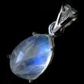 高品質 ホワイト ラブラドライト ペンダント ブルーに輝くシラー Silver925 チェーン付き