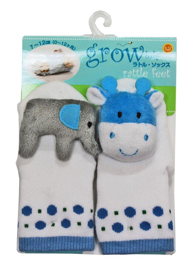 """grow baby"" ラトルトウソックス、ゾウ &ウシ"