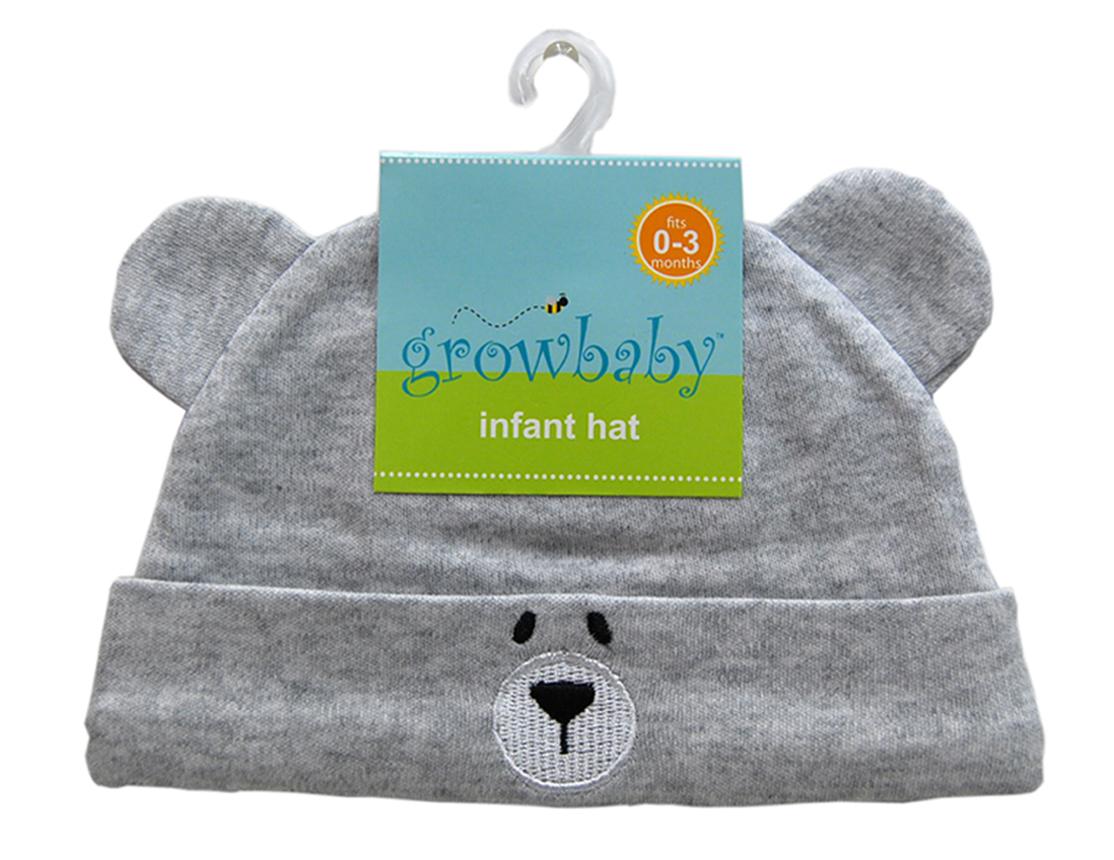 新生児用(0〜3カ) クマさん帽子(ジャージ生地) ライトグレー
