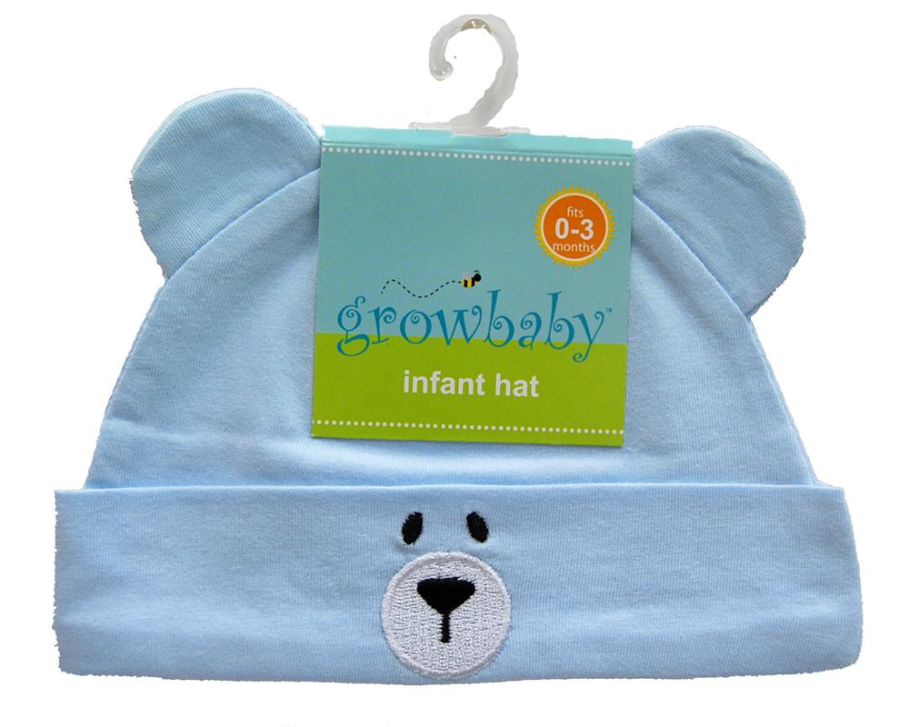 新生児用(0〜3カ) クマさん帽子(ジャージ生地) ライトブルー