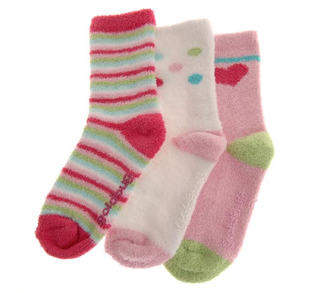 ソフトニットソックス 2〜4才用/ピンク系 (3足セット) [3 pr Socks]