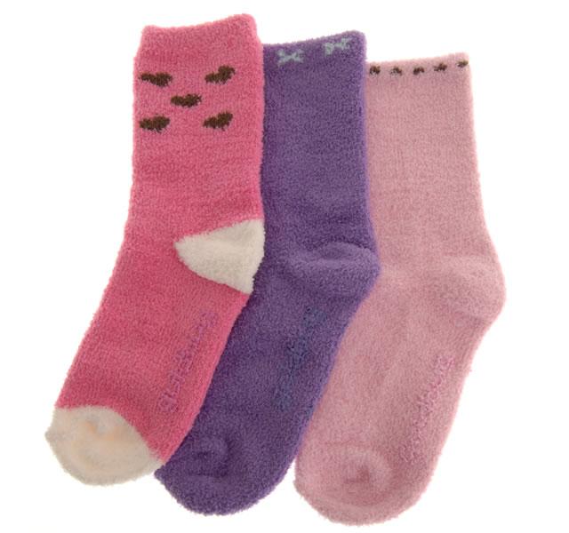 ソフトニットソックス 2〜4才用/ピンク・パープル系 (3足セット) [3 pr Socks]