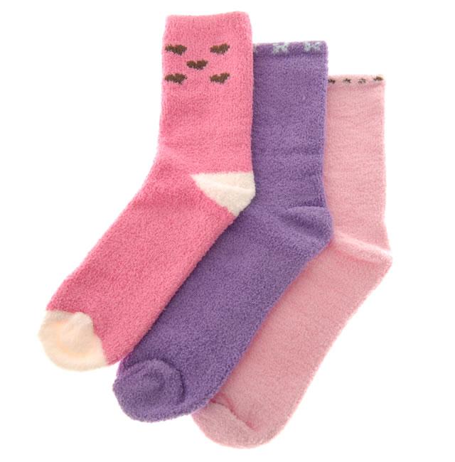 ソフトニットソックス 4〜7才用/ピンク・パープル系 (3足セット) [3 pr Socks]