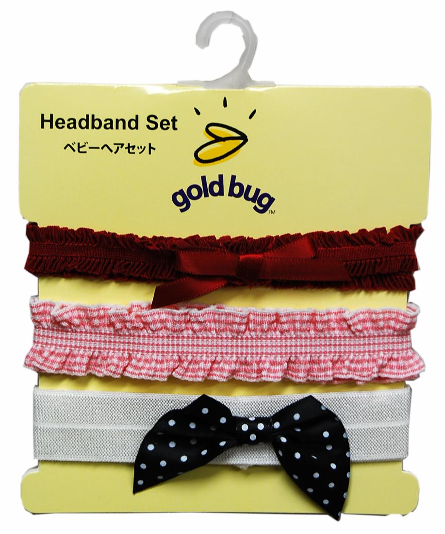 goldbug 新生児ヘアーバンド3個セット 〈リボンセット〉