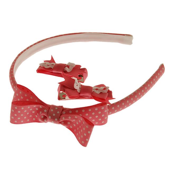 カチューシャ&ヘアピンセット (ピンクドットリボン)[Headband & Clip Set, PinkDot-Ribbon]
