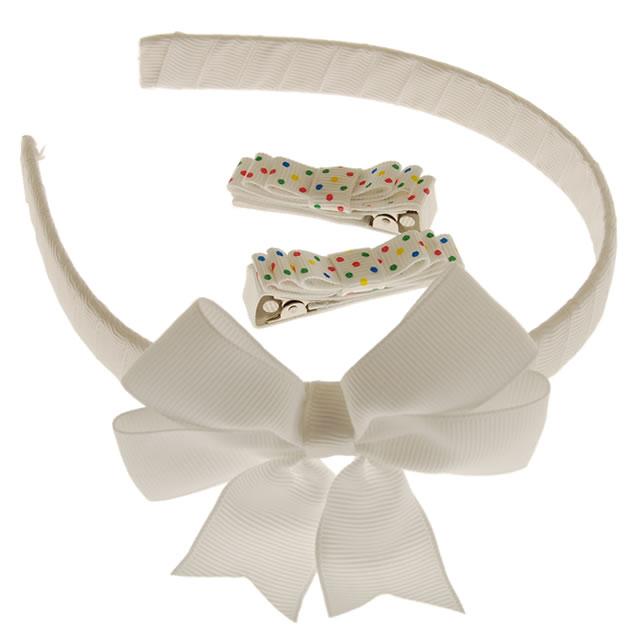 カチューシャ&ヘアピンセット (ホワイトリボン) [Headband & Clip Set, White-Ribbon]