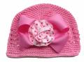 リボン付ニット帽 ピンク