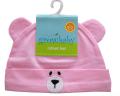 新生児用(0〜3カ) クマさん帽子(ジャージ生地) ライトピンク