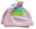 新生児用(0〜3カ月)ノット帽 2枚セット ライトピンク        (ストライプ、色無地)       ジャージ(綿100%)  item_link