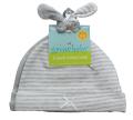 新生児用(0〜3カ月)ノット帽 2枚セット ライトグレー        (ストライプ、色無地)       ジャージ(綿100%)