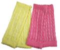 新生児からのケーブル編みレッグウォーマー2枚セット レモン&ピンク