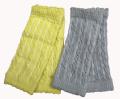 新生児からのケーブル編みレッグウォーマー2枚セット レモン&グレー