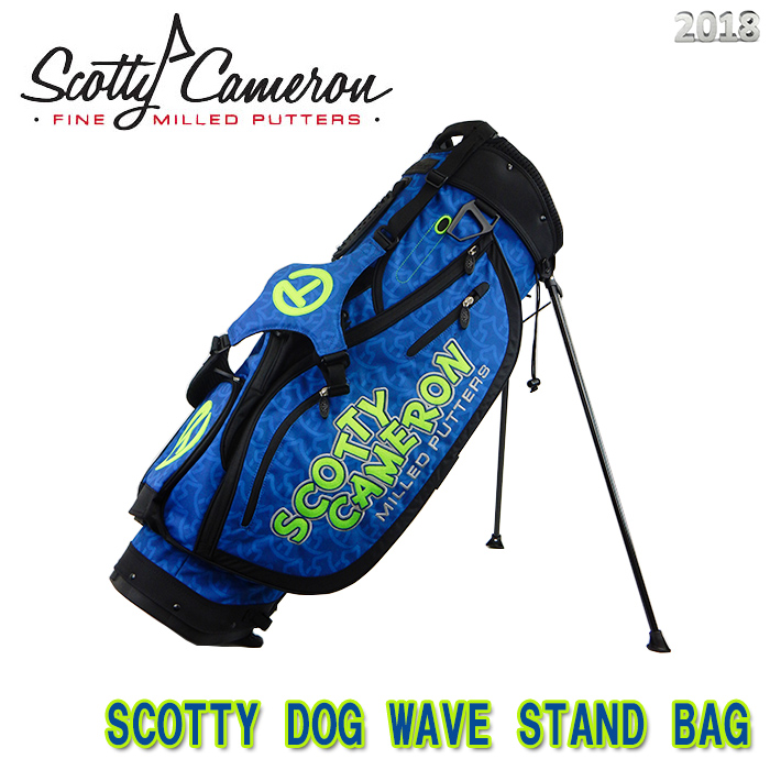 【2018 M&G 250本限定 正規品】スコッティキャメロン SCOTTY DOG WAVE STAND BAG 9インチ SCOTTY CAMERON ブルー/ライム