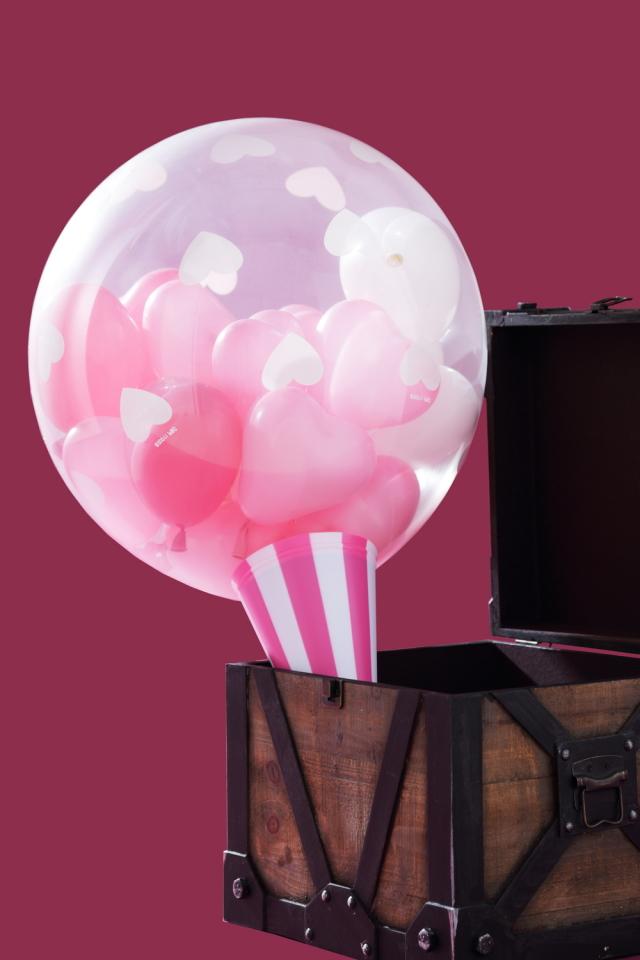 クラッカーバルーン(ピンク)サプライズプレゼントにどうぞ♪
