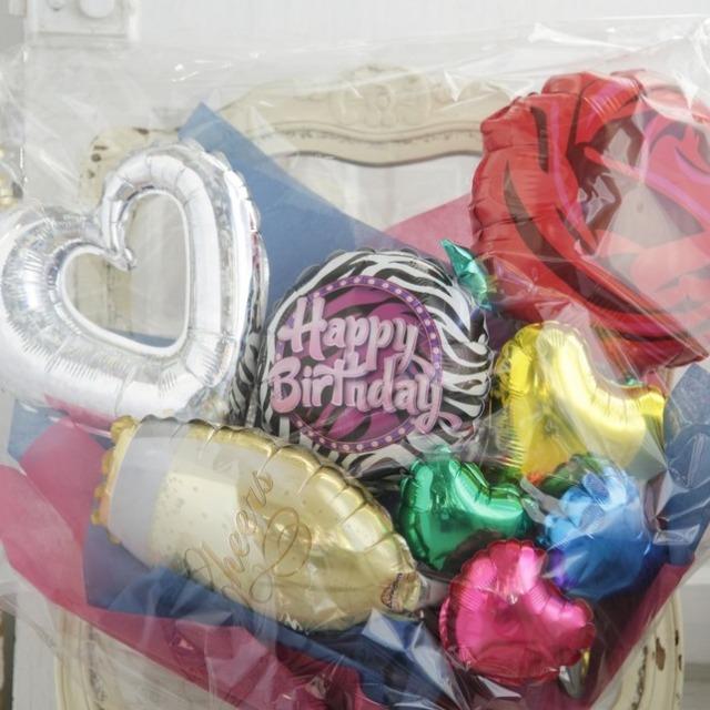バルーンブーケ♪誕生日プレゼントにシャンパングラスバルーン