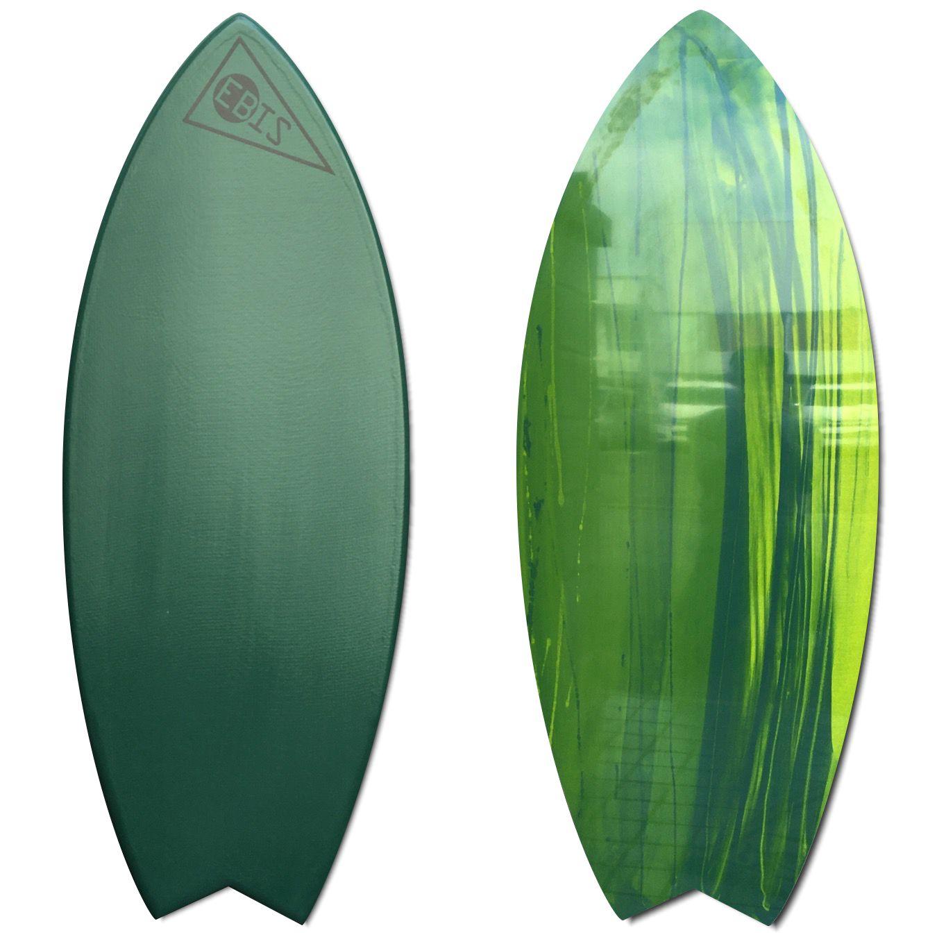EBIS エビススキムボード Lucky fish/ラッキーフィッシュ Mサイズ 18mm カーボン テールテーパー グレイッシュグリーン/アート 即納
