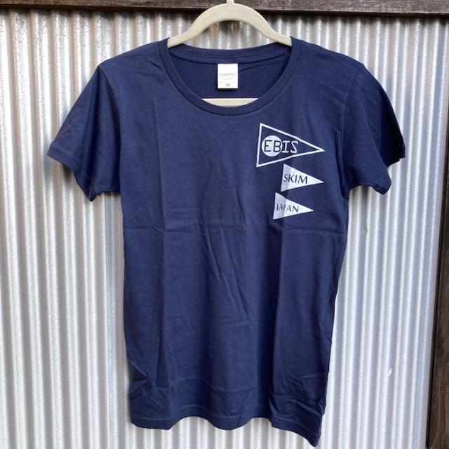 送料無料 EBIS・エビス スリーフラッグ Tシャツ ネイビー