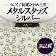 【ゆうパケット対象商品】美しい輝きと形状!高品質メタルスタッズ スター シルバー 50粒