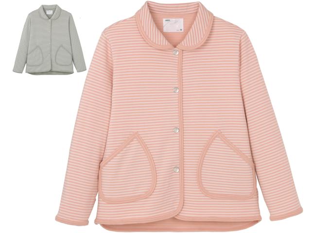 エンゼル ハニカムニット 5553-A 襟付きジャケットグレー・ピンク
