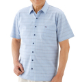 紳士スナップボタン半袖シャツ サックス