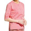 5分袖ヘンリーネックTシャツ ピンク