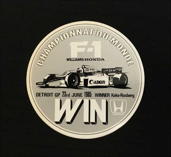 HONDA(ホンダ)F1 ウィリアムズ 1985年USGP-デトロイト K.ロズベルグ優勝記念 プロモーションステッカー